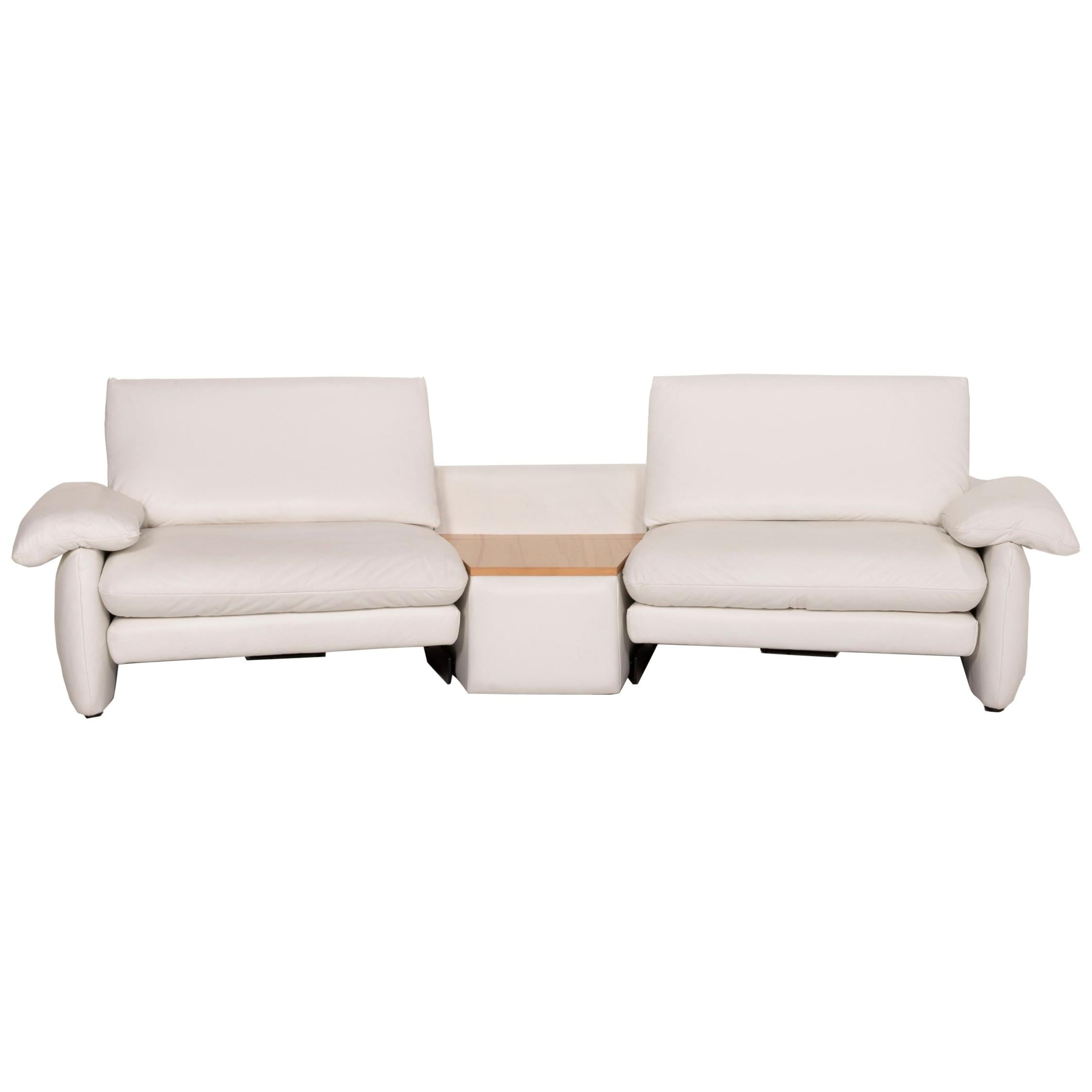Koinor Leather Sofa Cream Two-Seater Electric Relaxation Function Storage Space