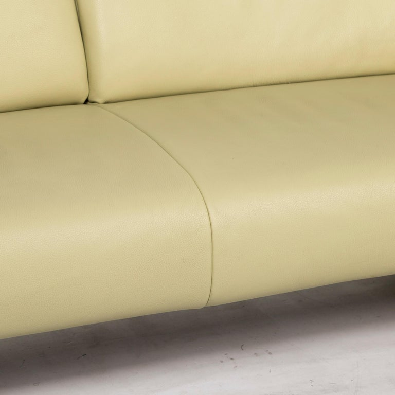 Modern Koinor Leather Sofa Green Three-Seat Couch For Sale