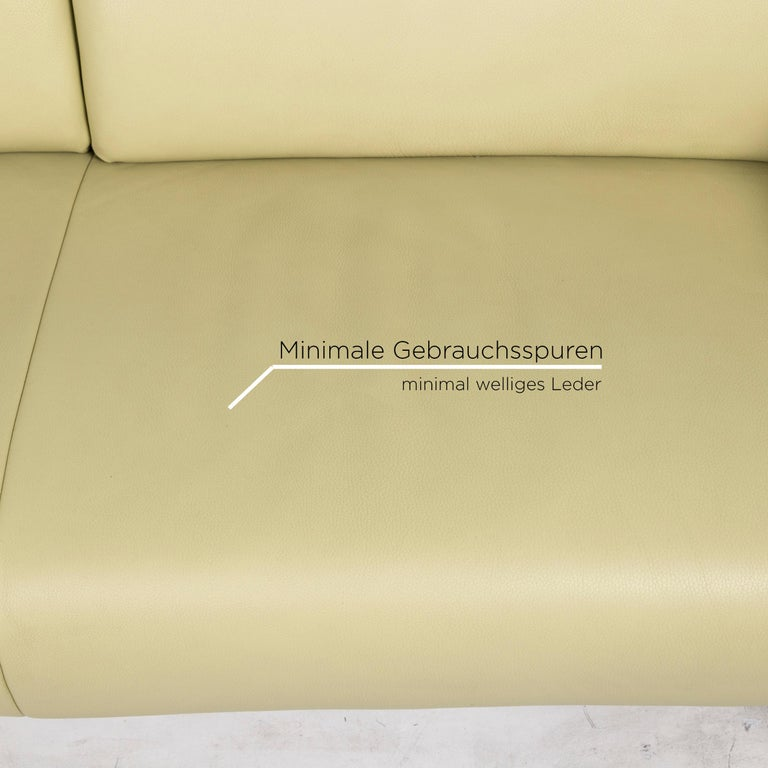 German Koinor Leather Sofa Green Three-Seat Couch For Sale