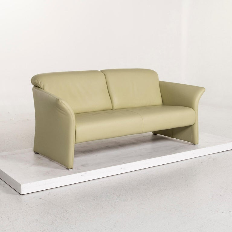 Koinor Leather Sofa Green Three-Seat Couch For Sale 1