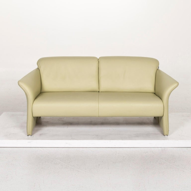 Koinor Leather Sofa Green Three-Seat Couch For Sale 2