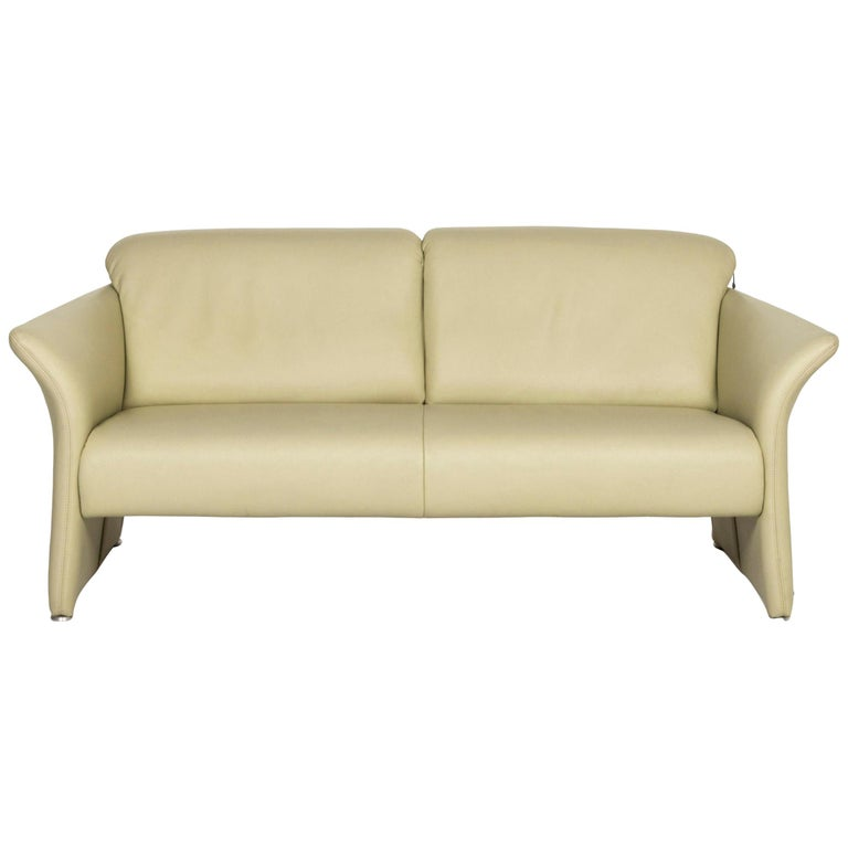 Koinor Leather Sofa Green Three-Seat Couch For Sale