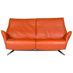 Koinor Leather Sofa Orange Two-Seat Couch