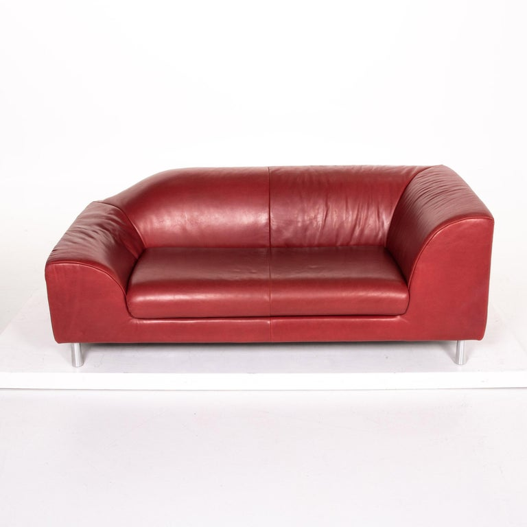Koinor Leather Sofa Red Two-Seat Couch 3