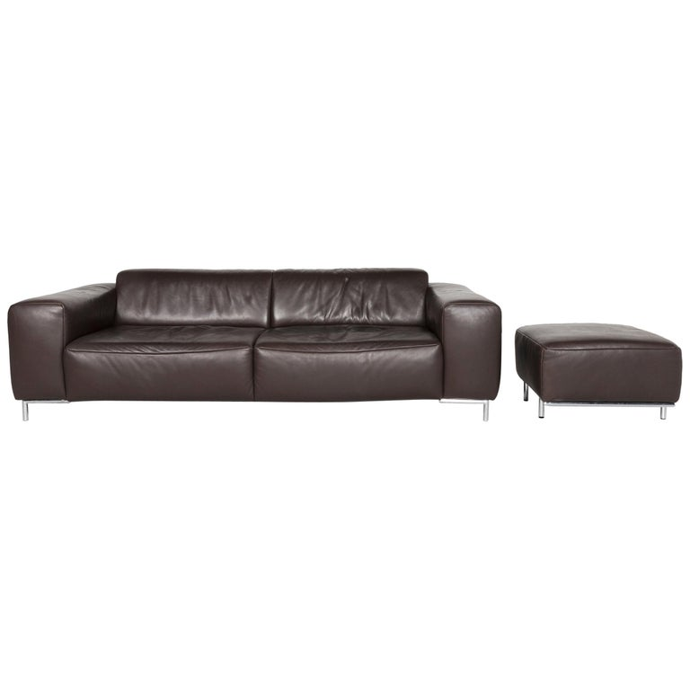 Koinor Leather Sofa Set Brown Three-Seat Stool