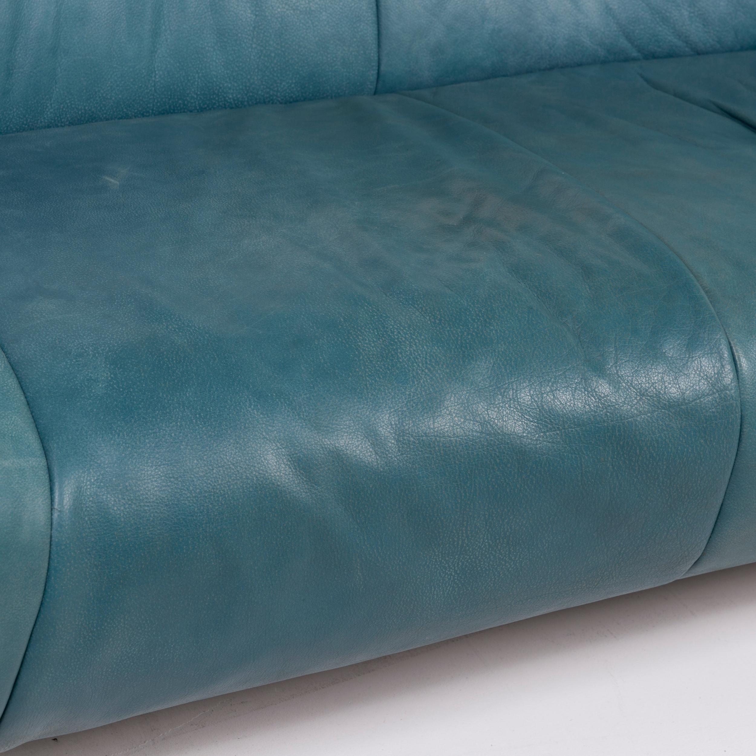 - Koinor Leather Sofa Set Turquoise Blue Green 1 Two-Seat 1 Armchair
