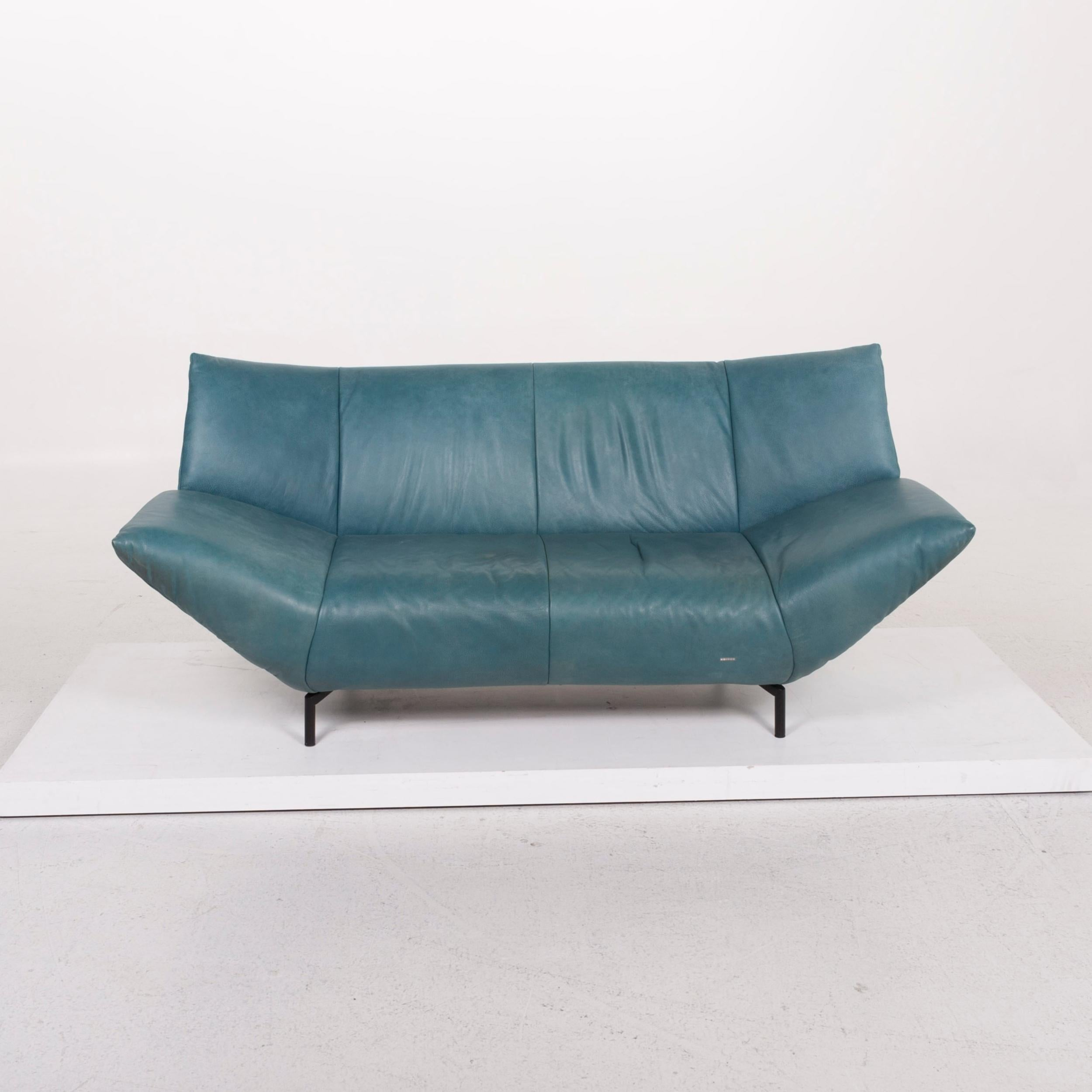 - Koinor Leather Sofa Turquoise Blue Green Two-Seat For Sale At 1stdibs