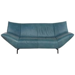 Koinor Leather Sofa Turquoise Blue Green Two-Seat