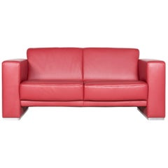 Koinor Nove Designer Leather Sofa Red Real Leather Two-Seat Couch