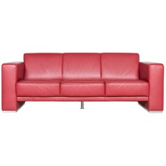 Koinor Nove Designer Leather Sofa Red Two-Seat Couch