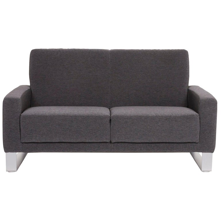 Koinor Nove Fabric Sofa Gray Compact Sofa Two-Seat Couch For Sale