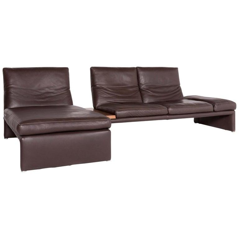 Koinor Raoul Designer Leather Corner Sofa Brown Genuine Leather Three-Seat
