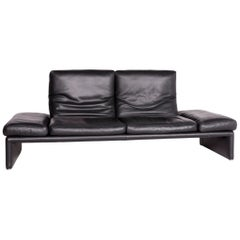 Koinor Raoul Designer Leather Sofa Black Genuine Leather Three-Seat Couch