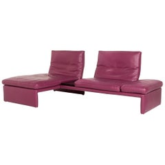Koinor Raoul Leather Corner Sofa Purple Sofa Function Couch