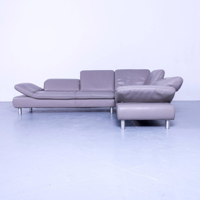 German Koinor Rivoli Designer Corner Sofa Grey Leather Function Modern For Sale