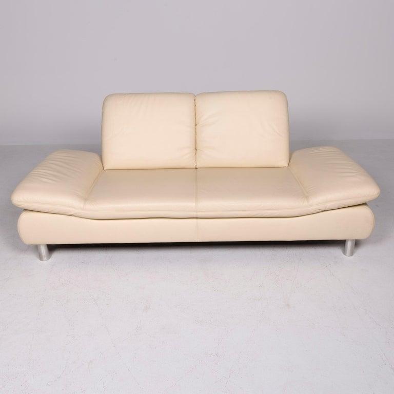Contemporary Koinor Rivoli Designer Leather Sofa Beige Genuine Leather Three-Seat Couch For Sale