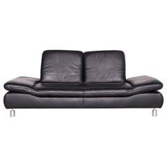 Koinor Rivoli Designer Leather Sofa Black Genuine Leather Three-Seat Couch