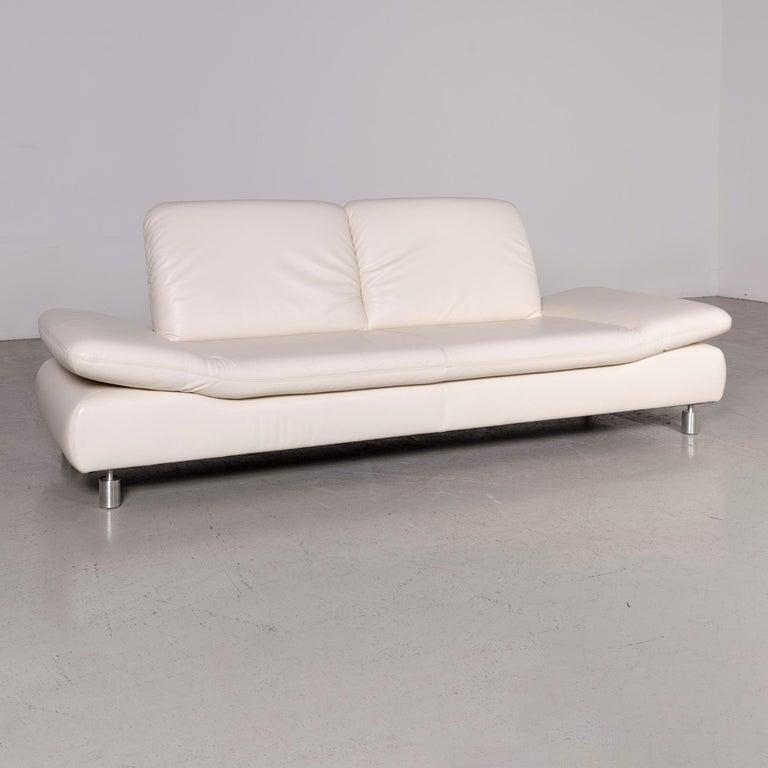Koinor Rivoli Designer Leather Sofa Cream Genuine Leather Three-Seat Couch