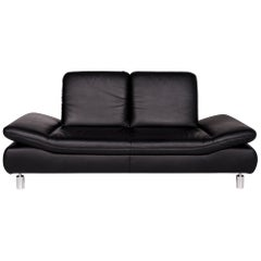 Koinor Rivoli Leather Sofa Black Two-Seat Function Couch