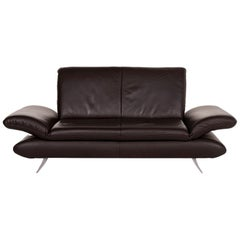Koinor Rossini Brown Leather Sofa Two-Seat with Function
