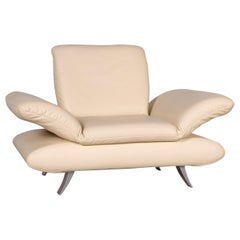 Koinor Rossini Designer Leather Armchair Cream Genuine Leather Chair