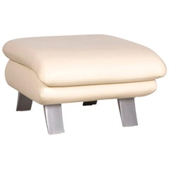 Koinor Rossini Designer Leather Footstool Creme
