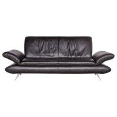 Koinor Rossini Designer Leather Sofa Black Three-Seat Couch