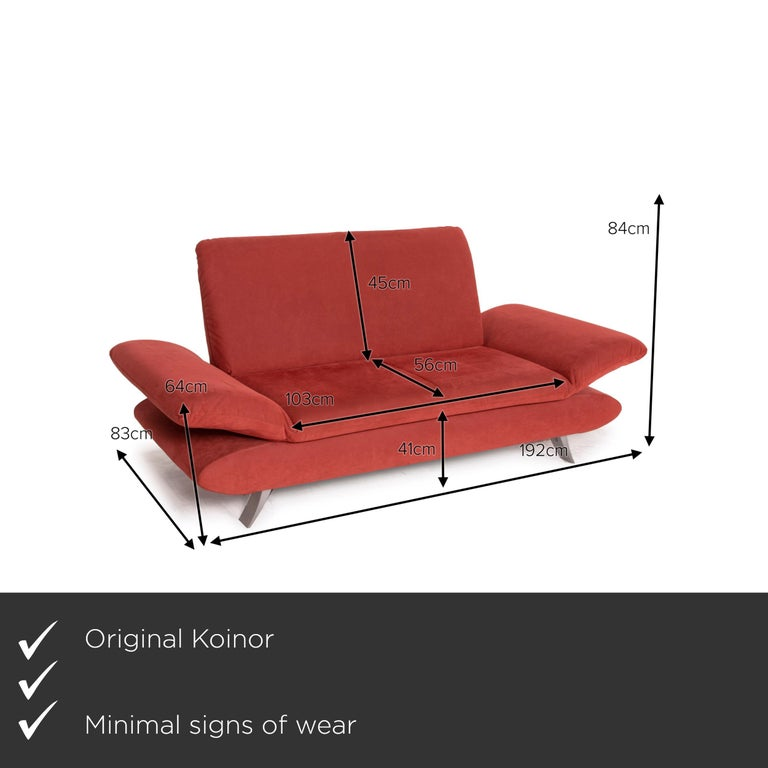 We present to you a Koinor Rossini fabric sofa orange two-seater function.    Product measurements in centimeters:    Depth: 83 Width: 192 Height: 84 Seat height: 41 Rest height: 64 Seat depth: 56 Seat width: 103 Back height: 45.