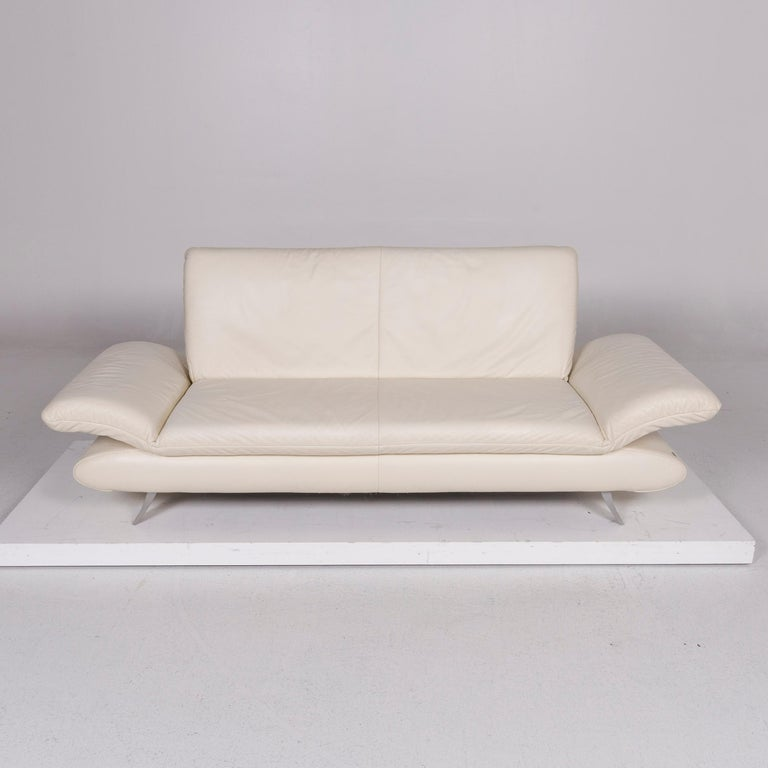 Koinor Rossini Leather Cream Sofa Three-Seat Function Couch 4