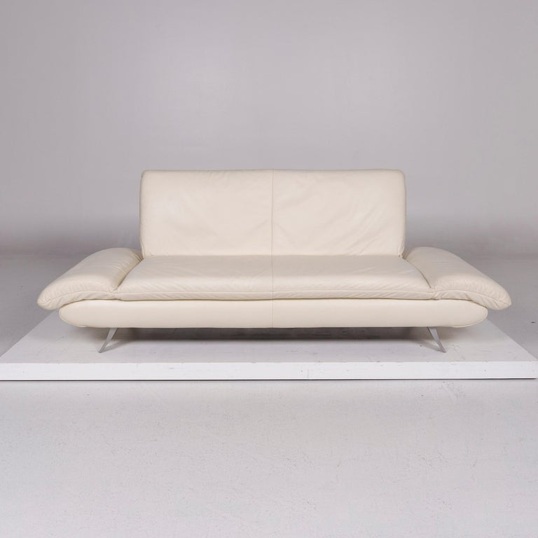 Modern Koinor Rossini Leather Cream Sofa Three-Seat Function Couch