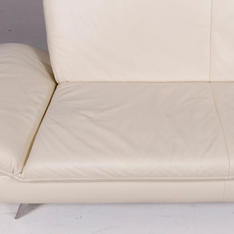 Koinor Rossini Leather Cream Sofa Three-Seat Function Couch In Good Condition In Cologne, DE