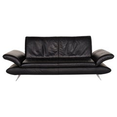 Koinor Rossini Leather Sofa Black Three-Seat Function Couch
