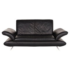 Koinor Rossini Leather Sofa Black Two-Seat Function Couch