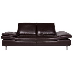 Koinor Rossini Leather Sofa Brown Dark Brown Function Couch