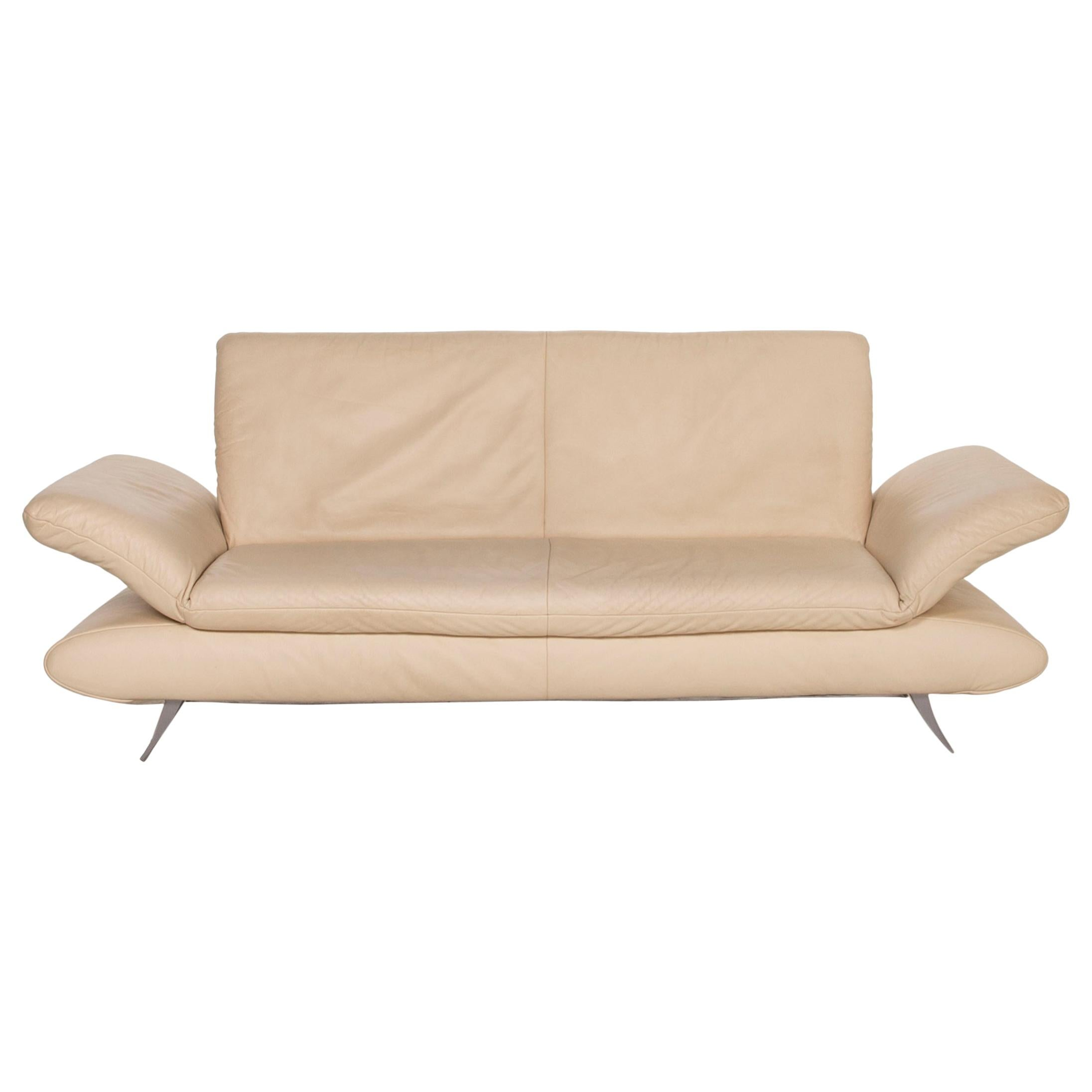 Koinor Rossini Leather Sofa Cream Three-Seater Function Couch