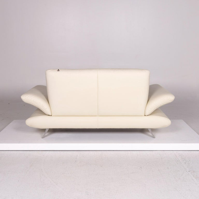 Koinor Rossini Leather Sofa Cream Two-Seat Couch For Sale 4