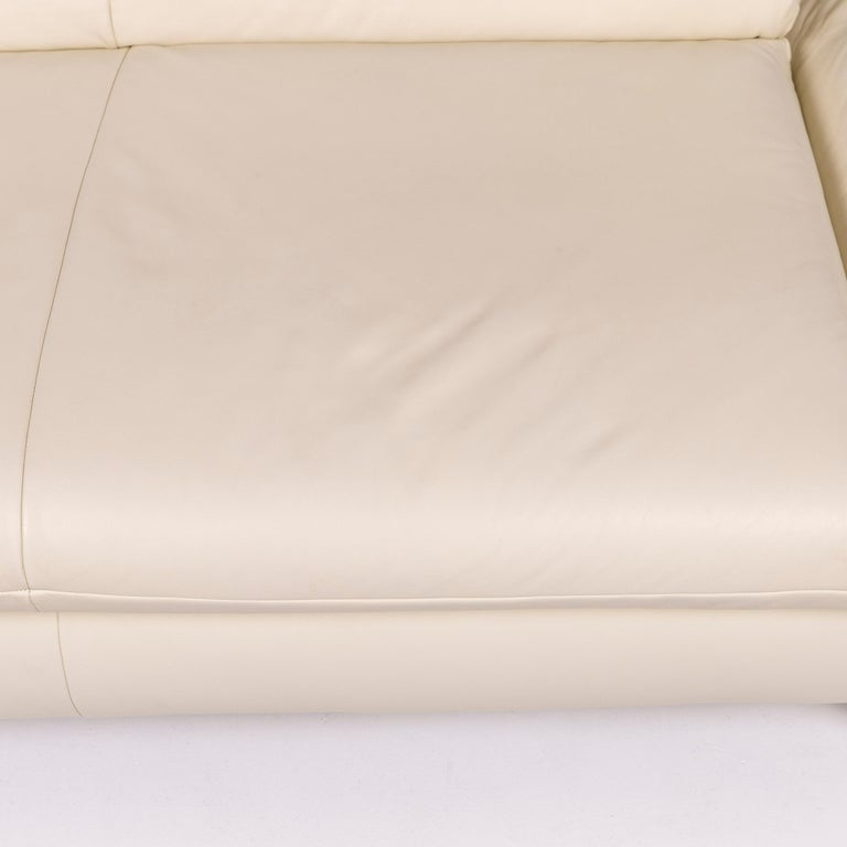 Modern Koinor Rossini Leather Sofa Cream Two-Seat Couch For Sale