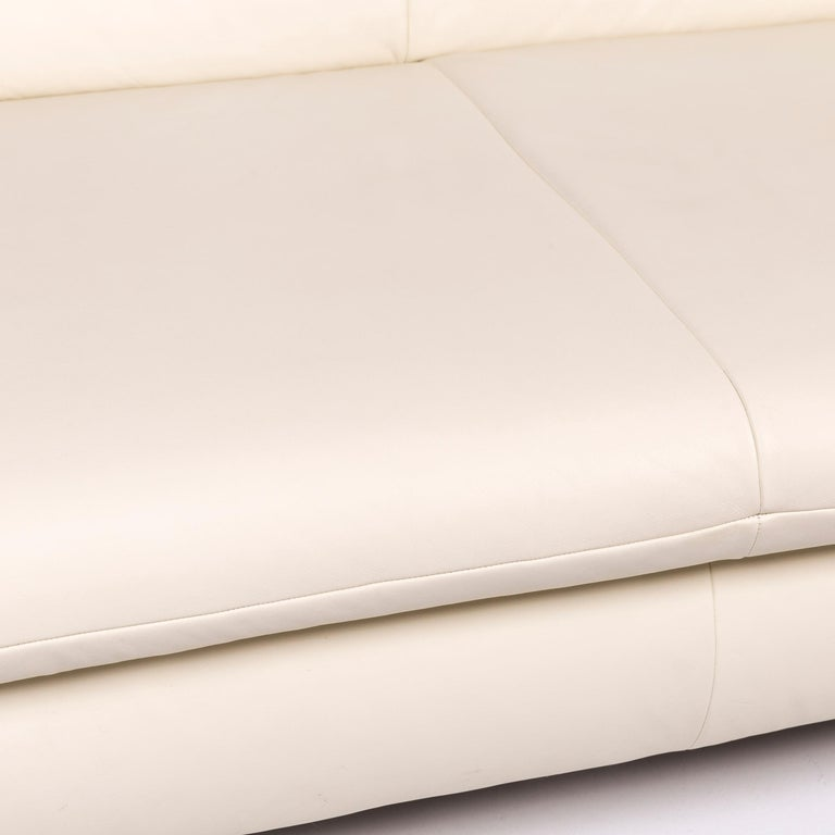 German Koinor Rossini Leather Sofa Cream Two-Seat Couch For Sale