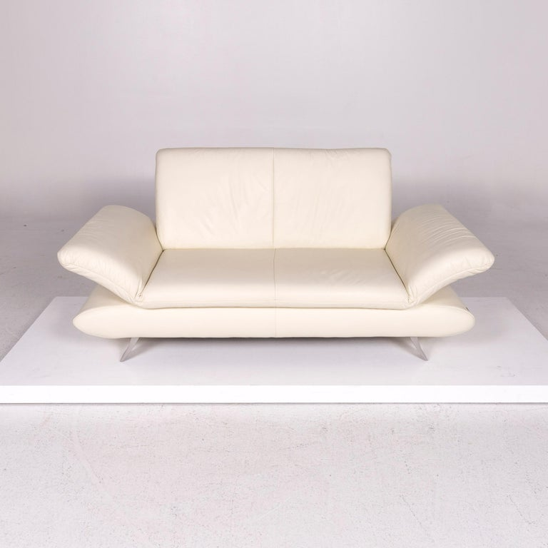 Koinor Rossini Leather Sofa Cream Two-Seat Couch For Sale 2