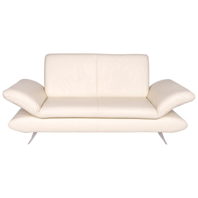Koinor Rossini Leather Sofa Cream Two-Seat Couch For Sale