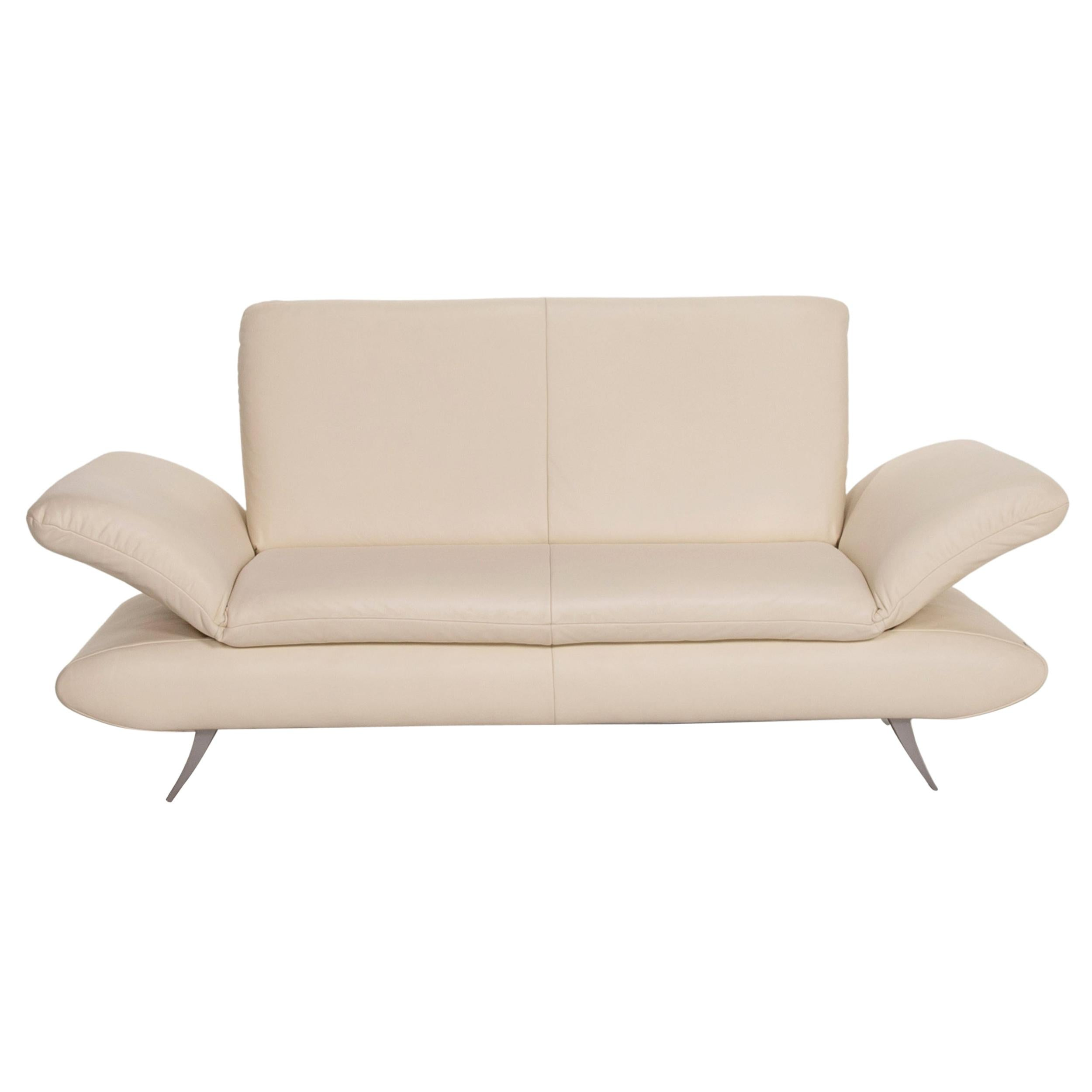 Koinor Rossini Leather Sofa Cream Two-Seater Function Couch