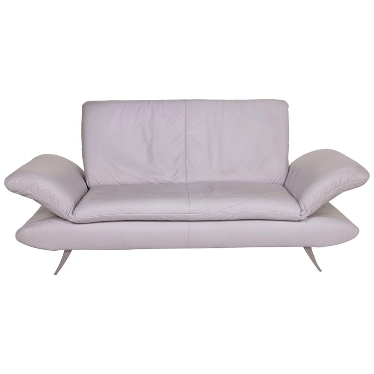 Koinor Rossini Leather Sofa Gray Gray Blue Two-Seat Function Couch