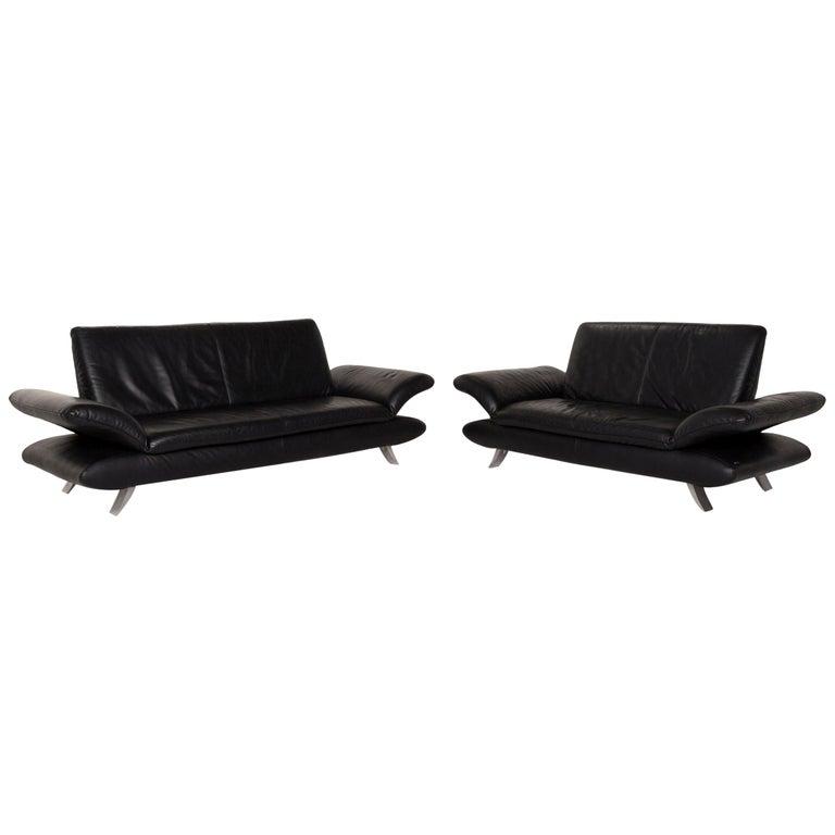 Koinor Rossini Leather Sofa Set Black 1 Three-Seat 1 Two-Seat For Sale