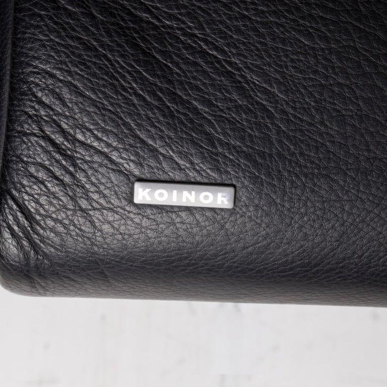 Koinor Rossini Leather Sofa Set Black 1 Three-Seat 1 Two-Seat For Sale 4