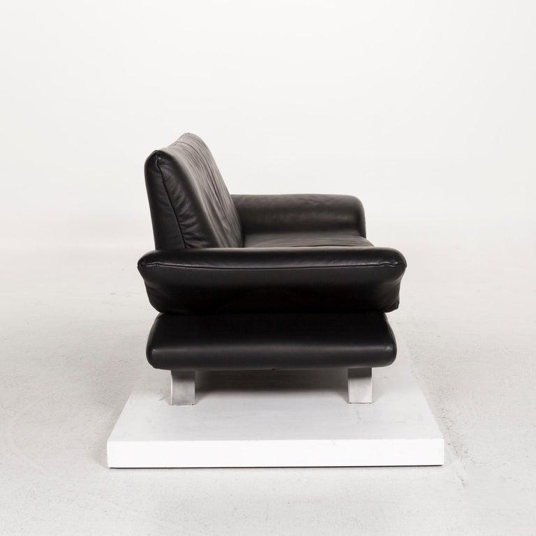 Koinor Rossini Leather Sofa Set Black 1 Three-Seat 1 Two-Seat For Sale 5