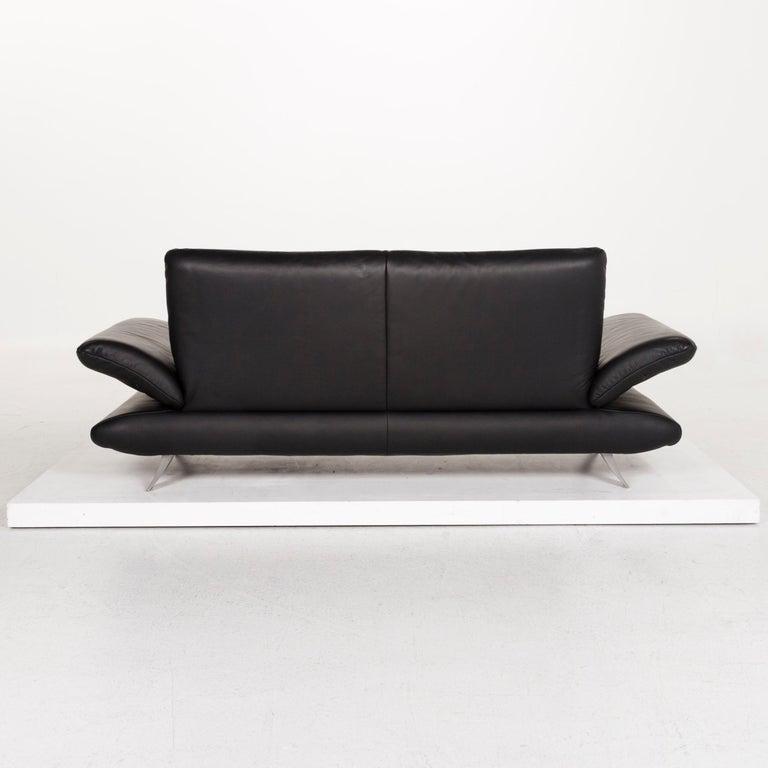 Koinor Rossini Leather Sofa Set Black 1 Three-Seat 1 Two-Seat For Sale 6