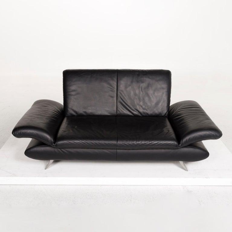 Koinor Rossini Leather Sofa Set Black 1 Three-Seat 1 Two-Seat For Sale 7