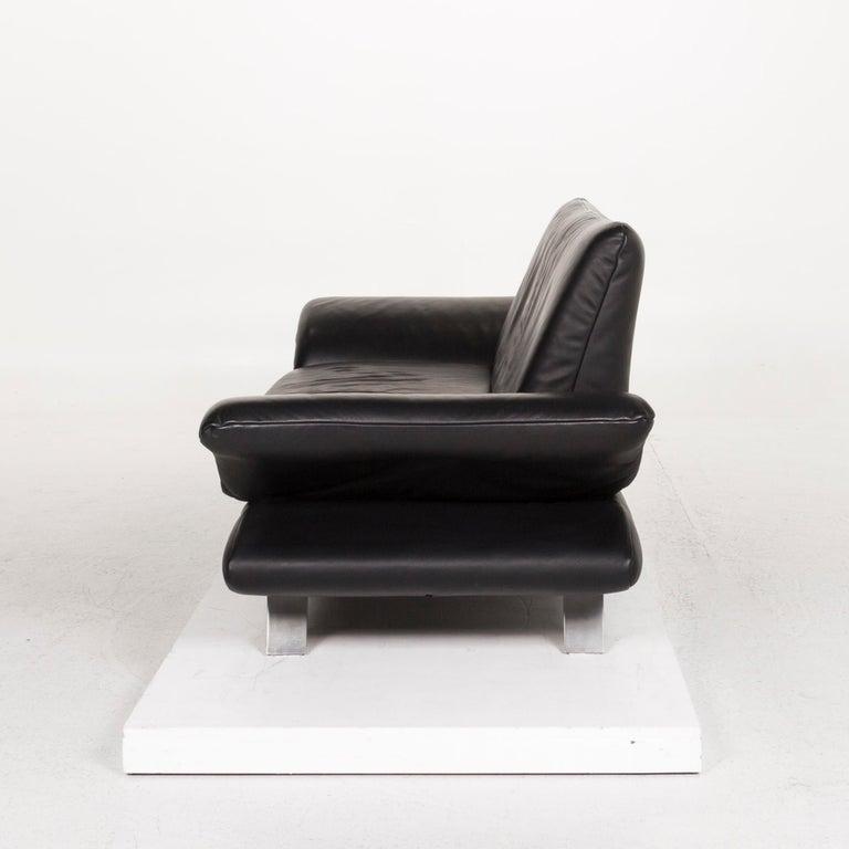 Koinor Rossini Leather Sofa Set Black 1 Three-Seat 1 Two-Seat For Sale 8