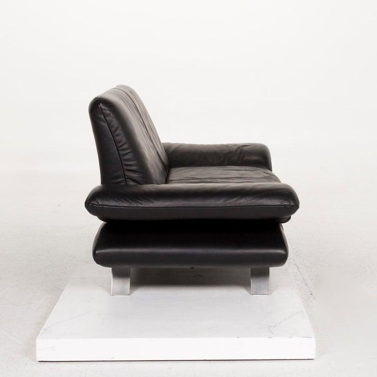 Koinor Rossini Leather Sofa Set Black 1 Three-Seat 1 Two-Seat For Sale 9