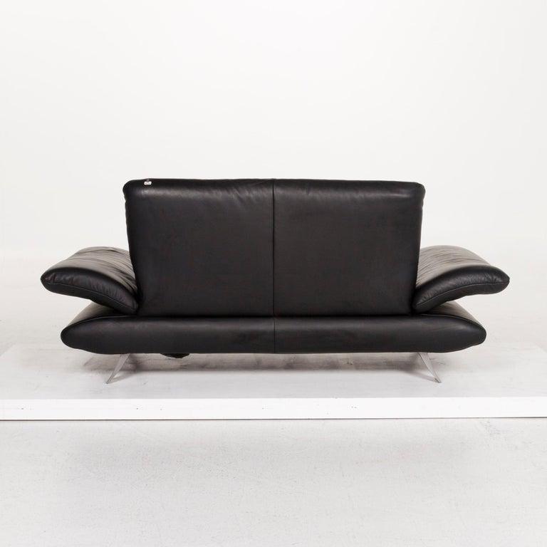 Koinor Rossini Leather Sofa Set Black 1 Three-Seat 1 Two-Seat For Sale 10